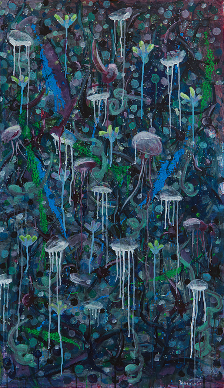 Roman Dvořák: Jellyfish, signed and dated 2020, acrylic on paper, 27,5 x 43 in. (70 x 110 cm)